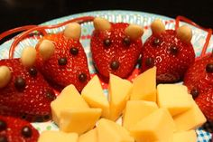 Strawberries, almonds and cheese