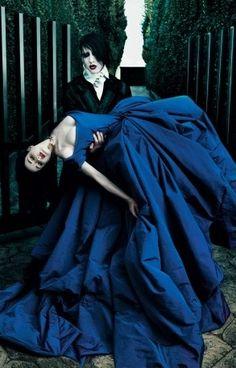 Dita von Teese & Marilyn Manson The dress is a fabulous blue