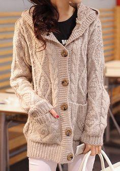 Light Brown Sweater Coat - Ribbing At Front/Hem
