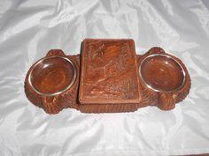 Vintage syroco wood ashtray cigarette box holder by vintagebyrudi