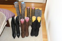 Pool noodles as boot shapers
