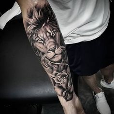 Check out the collection of lion Tattoo on hand with designs. We have the best collection of latest Lion Tattoo Designs. Lion Tattoo Sleeves, Mens Lion Tattoo, Arm Sleeve Tattoos, Tattoo Sleeve Designs, Tattoo Designs Men, Lion Sleeve, Tattoo For Man, Men Arm Tattoos, Tattoo Sleves