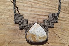 fossil coral macrame necklace,macrame jewelry bib necklace,macrame stone necklace,healing gemstone,cabochon necklace,thread necklace,boho by ARTEAMANOetsy on Etsy