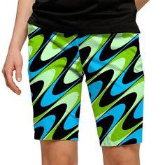Women's Loudmouth Aqua Printed Golf Bermuda Shorts, Black