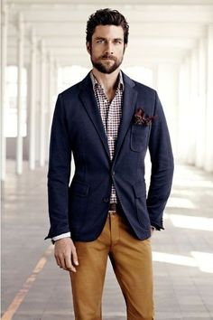Shop this look for $241:  http://lookastic.com/men/looks/navy-blazer-and-white-longsleeve-shirt-and-burgundy-pocket-square-and-tobacco-chinos/248  — Navy Blazer  — White Polka Dot Longsleeve Shirt  — Burgundy Polka Dot Pocket Square  — Tobacco Chinos