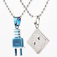 Connecting Switch Socket Unique Couple Necklaces Set for Two