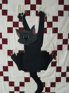 cat quilt - this is amazing! 👍 Guess cat would be for a hanging quilt ! Colchas Quilt, Applique Quilts, Quilt Blocks, Patch Quilt, Quilting Projects, Quilting Designs, Cat Quilt Patterns, Quilt Modernen, Gatos Cats