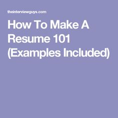 resume 101 examples
