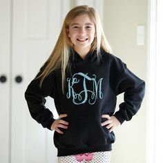 Girls Black Hooded Sweatshirt with Blue Saprkle Initials – Lolly Wolly Doodle