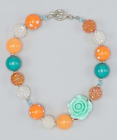 Look what I found on #zulily! Orange Rose Bead Necklace by Head over Heels #zulilyfinds