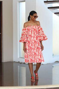 DIY off the shoulder print dress-Beaute' J'adore