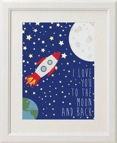 Printable Nursery Art Nursery Decor  Baby room Art I love you to the Moon and Back 8x10 DIY
