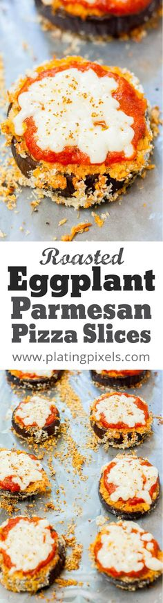 Roasted Eggplant Parmesan Pizza Slices recipe by Plating Pixels. Heathy, gluten-free and fun to make! Crispy breaded sliced eggplant with marinara sauce and Parmesean cheese. A healthy alternative to pizza. - www.platingpixels.com