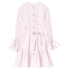 La Vie Poplin Shirt Dress (15.660 RUB) ❤ liked on Polyvore featuring dresses, utility shirt dress, tie belt, pastel pink dresses, poplin dress and poplin shirt dress
