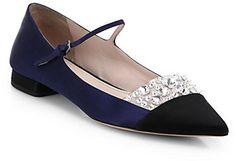 Miu Miu Women's Jeweled Satin Point Toe Mary Jane Flats❣ Royal Blue Wedding Shoes, Wedge Wedding Shoes, Fab Shoes, Me Too Shoes, Dream Shoes, Women's Shoes, Mode Chic, Mary Jane Pumps, Bride Shoes