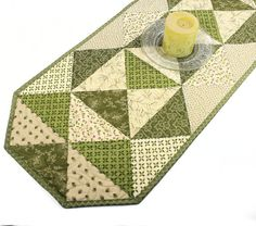 Quilted Table Runner  Cottage Chic in Olive by QuiltSewPieceful