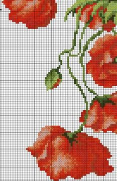 Poppies 4 of 6 Counted Cross Stitch Patterns, Cross Stitch Embroidery, Cross Stitch Geometric, Stitch Cartoon, Cross Stitch Pictures, Cross Stitch Flowers, Ribbon Embroidery, Cross Stitching, Magnolia Flower