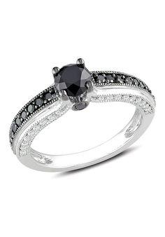 10k White Gold 1 1/4ct TDW Black and White Round-Cut Diamond Ring (I2-I3, G-H)