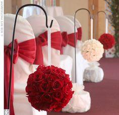 Love is Red-Wedding decor Wedding 2015, Red Wedding, Wedding Colors, Wedding Flowers, Wedding Day, Wedding Table, Pew Decorations, Wedding Decorations On A Budget, Budget Wedding
