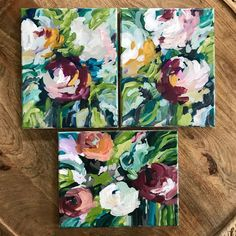 Small Canvas Art, Mini Canvas Art, Small Art, Small Paintings, Art Paintings, Flower Paintings, Abstract Paintings, Floral Artwork, Diy Artwork