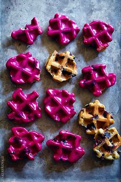 Blueberry Waffle Cookies with a naturally colored blueberry and lime glaze