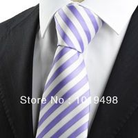 free shipping striped tie 5pcs New Striped Purple White JACQUARD WOVEN Men's Tie Necktie, Width 8.5cm can mix order