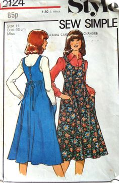 Vintage Style 2124 pinafore dress sewing pattern A gored skirt with a scoop bodice and buttons with rouleau loops to fasten Cut and Vintage Dress Patterns, Clothing Patterns, Vintage Dresses, Vintage Outfits, Vintage Fashion, Style Patterns, Vintage Clothing, Outfit Trends, Kinds Of Clothes