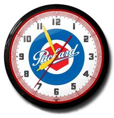 Packard Automobile Car Emblem Neon Wall Clock 20 Made In USA  Spun Aluminum Case with Powder Coated Finish >>> Find out more about the great product at the image link.