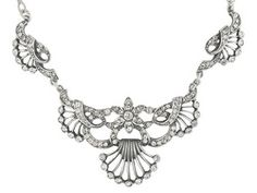 Rhodium Plated Sterling Silver White Crystal Floral Filigree 18 1/2 Inch Bib Necklace