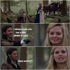 """I always knew you had a little pirate in you...want another?"" Lets be honest.. This is something he would say. Once upon a time Season 3 finale episode 3x21 3x22 ""Snow Drifts"" ""No place like home"""