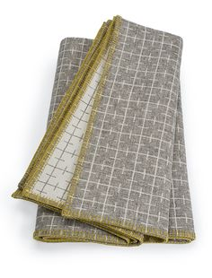 Eleanor Pritchard's rugged wholesome reversible Sourdough Blanket has a grid pattern of fine lines and a contrasting tumeric stitched edging. Limestone Grey, Blanket Stitch, Blanket Sizes, Modern Spaces, Geometric Designs, Soft Furnishings, Textile Design, Woven Fabric, Grey And White