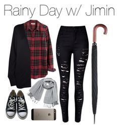 """""""Rainy Day with Jimin"""" by kookiechu ❤ liked on Polyvore featuring WithChic, Madewell, Converse, Vero Moda and Fulton"""