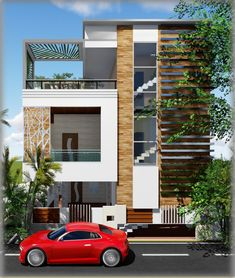 House Outside Design, Home Stairs Design, House Front Design, Modern House Design, Contemporary Design, Flat Roof House Designs, Cool House Designs, Front Elevation Designs, House Elevation