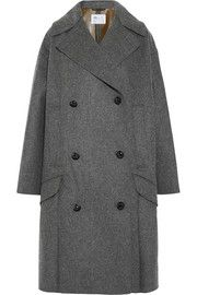 TogaBonded wool-blend and faux leather coat