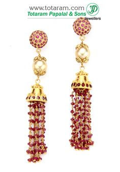 22K Gold Ear Hangings with  Rubies,Ruby  Beads & South Sea  Pearls.