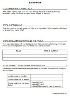 Mental Health Crisis Safety Plan | Below is an example of a Safety ...