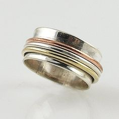 Spinner Ring Three Tone High Shine Smooth Sterling by KejaDesigns