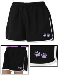 Purple Paw Running Shorts at The Animal Rescue Site  Buy these great running or exercise shorts and they fund 14 bowls of food for rescued animals.  Check out Animal Rescue/Purple Paws for lots of products that you buy normally and help the rescued animals...!