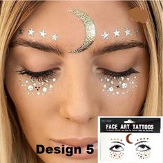 Face Gems Stick on Face Jewels Festival Body Glitter Crystals Rhinestones Eye UK Maquillage Halloween, Halloween Makeup, Halloween Costumes, Temporary Face Tattoos, Neck Tattoos, Sleeve Tattoos, Sun And Moon Costume, Karneval Diy, Freckles Makeup