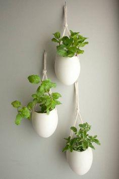 Set of 3 Porcelain & Cotton Rope Hanging Planters