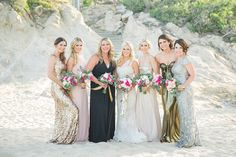 Beach bridesmaids portrait Destination Cabo wedding Cabo Surf Hotel | Floral design Lola del campo Florenta