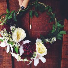 Flowers by flowergirllosangeles: A crown or a wreath! #Flowers #Wreath #Crown