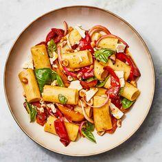 Pepper Pasta Salad Recipe   Bon Appétit Summer Pasta Recipes, Pasta Salad Recipes, Sauce Recipes, Veggie Recipes, Rigatoni Recipes, Pasta Recipies, Healthy Recipes, Noodle Recipes, Pizza Recipes