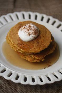 Gluten-Free Carrot Cake Pancakes topped w/ Chobani Greek Yogurt via @Phoebe Lapine