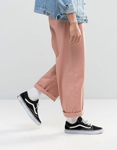 ASOS Wide Leg Chinos In Light Pink