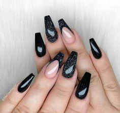 Manicure E Pedicure, Black Nails, Coffin Nails, Pretty Nails, Make Up, Beauty, Art, Strong Nails, Nails Plus