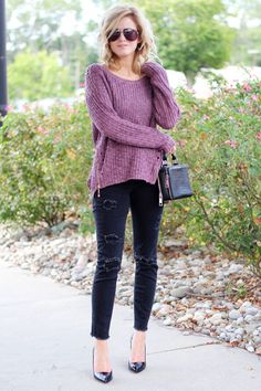 Zipper Sweater and Black Denim // loving this zipper sweater and distressed black denim jeans from +Silver Jeans Co. Loft on the blog today: http://www.theknottedchain.com/zipper-sweater-and-black-denim/