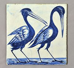 I presume they are storks rather than herons or cranes - the original design is in the V&A archive. On a Dutch blank and unusual early technique, with some blue in the white background. Early Spent most of its life in a plant pot in Cheltenham. Victorian Tiles, Antique Tiles, Antique Art, William Morris, Delft, Art Nouveau, Picture Tiles, Tile Art, Tile Painting