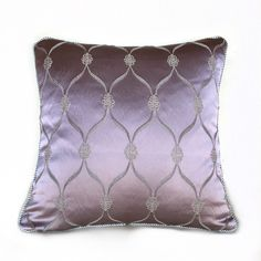 Hollywood Regency Lilac Purple Satin Ogee Lattice Pillow Cushion Zipper Cover with Silver Gray Braided Trim by Aloriam on Etsy https://www.etsy.com/listing/260306588/hollywood-regency-lilac-purple-satin