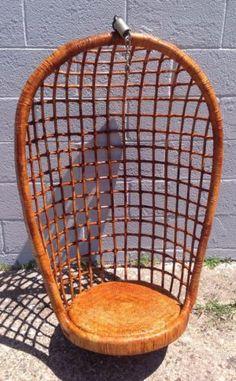 Vintage Mid Century Modern Hanging Basket Bamboo Rattan Swing Chair | eBay